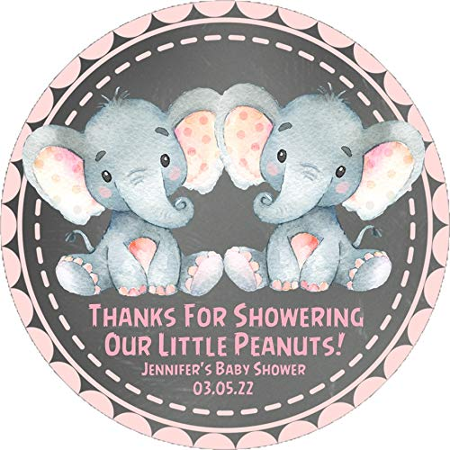 Twin Girls Elephant Baby Shower Favor Stickers, Twins Elephant Baby Shower Favor Tags, Twin Boys Elephant Baby Shower Decorations, Twin Girls Elephant Baby Shower Supplies by Party Beautifully