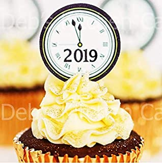 new year 2019 clock cupcake toppers pre cut new years eve cake toppers