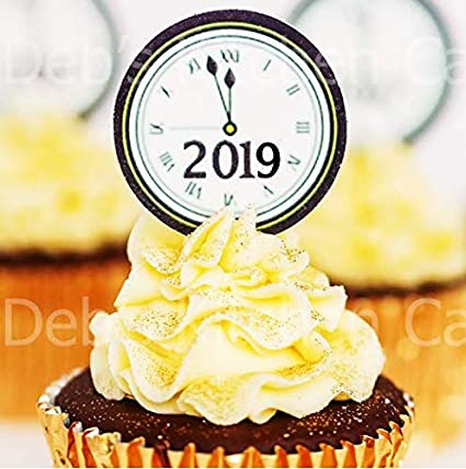 New Year 2019 Clock Cupcake Toppers Pre Cut New Year S Eve Cake