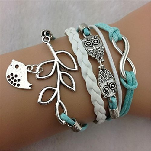Kingfansion Vintage Handmade Infinity Silver 8 Owl Leaf Bird Leather Bracelet Wristband New