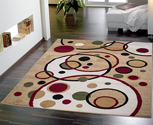 Ottomanson Contemporary Balloons Design Area Rug, 8-Feet 2-Inch by 9-Feet 10-Inch, Beige