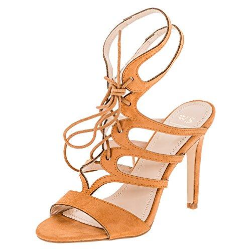 W.S Shoes Damen Sandaletten Pumps High Heels Stiletto Party Schuhe in Vielen Farben M357bn Braun