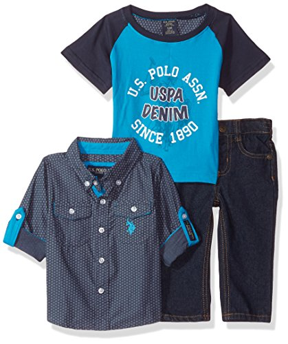 (U.S. Polo Assn. Baby Boys' Sport Shirt, Creeper and Pant Set, 0684-Multi Plaid, 24M)