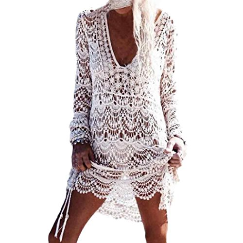 Gauze Hippie (GBSELL Vintage Hippie Boho People Floral Lace Crochet Hollow Mini Dress (White))