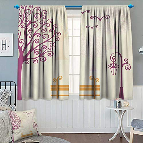 Nature,Blackout Curtain,Pastel Color Nature Picture Curvy Lines Seagulls Bench and Tree Silhouettes Park,Waterproof Window Curtain,Orange Purple,W72 x L45 inch ()