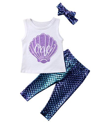 Imcute Toddler Girls Mermaid Shell Tank Vest T Shirt Top Mer
