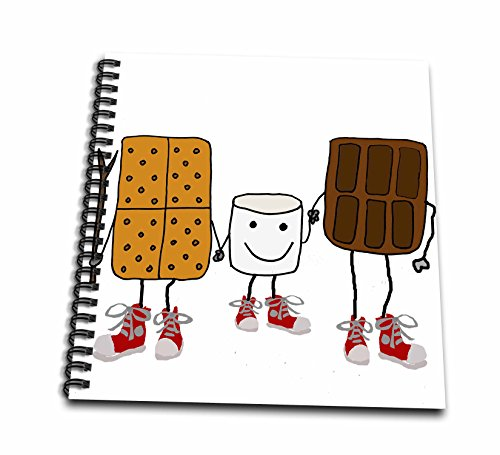 12x12 Album Chocolate (3dRose All Smiles Art Funny - Funny Cute Smores Cartoon with Chocolate and Marshmallow - Memory Book 12 x 12 inch (db_260889_2))