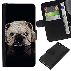 All Phone Most Case / Oferta Especial Cáscara Funda de cuero Monedero Cubierta de proteccion Caso / Wallet Case for Apple Iphone 5C // English British Bulldog Black Dog Pet