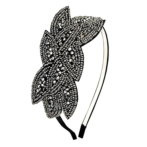 Coucoland Art Deco Headpiece Flapper Headband 1920s Headpiece Black Rhinestone Headband for Women