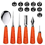 U-Goforst Pumpkin Carving Kit - 6 Piece Reusable Stainless Steel Tools Set and 10 Carving Pattern Easily Carve Sculpt Halloween Jack O Lanterns