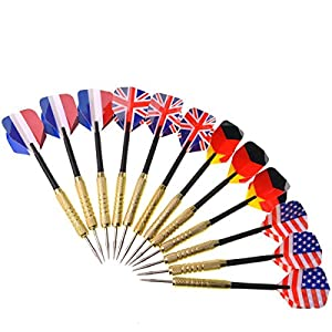 SUMERSHA 12 Stk. Dartpfeile mit Nationalflagge (4 Arten) Dart Flights...