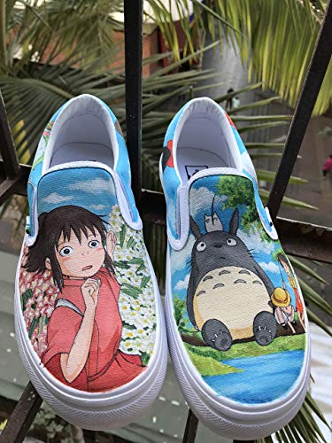 9f419ec6796f6f Amazon.com  My Neighbor Totoro Vans Slipon Custom Spirited Away Anime Shoes Hand  Painted Shoes Hand Painted Vans Slipon Custom Vans Sneakers Free Shipping   ...