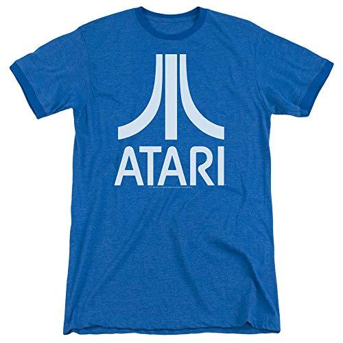 Atari Atari Logo Unisex Adult Ringer T Shirt for Men and Women, Large Royal Blue