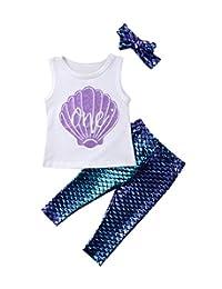 Imcute 3PCS Toddler Girls Shell Shirt Top Mermaid Leggings Tights Pants Headband