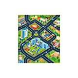 Baulody Kids Carpet Playmat Rug with Non-Slip Backing, Car Toy, Game Area for Baby Toddler Kid Child Educational Learn Road Traffic in Bedroom, Classroom (Multicolor)