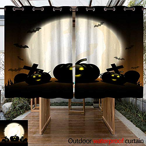 RenteriaDecor Outdoor Curtain for Patio Halloween Pumpkins Under The Moonlight W63 x -