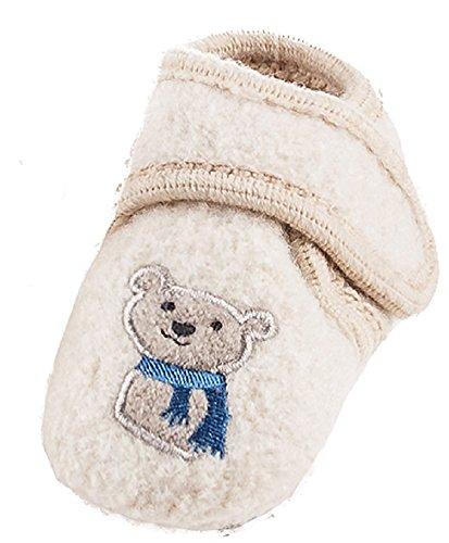 Maximo 75203 - Baby Lauflernschuhe Bär ABS Schuhe aus Wolle Babyschuhe Beige
