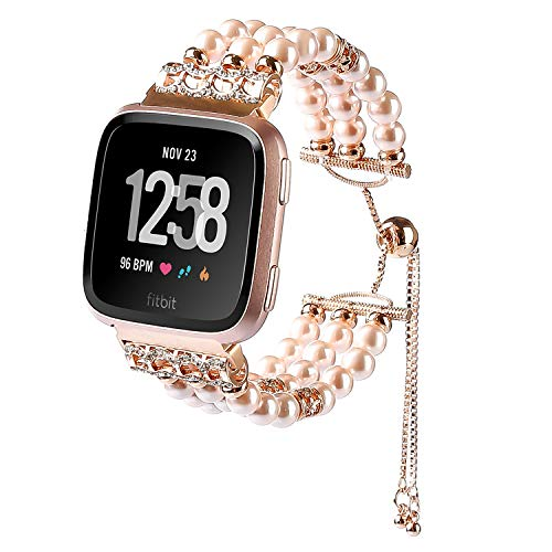 (SDMADE Compatible for Fitbit Versa Bands, Adjustable Elastic Pearl Jewels Replacement Wristbands Bracelet Stretch Strap with Strings of Beads Buckle Female Women Girl (Rose Gold))