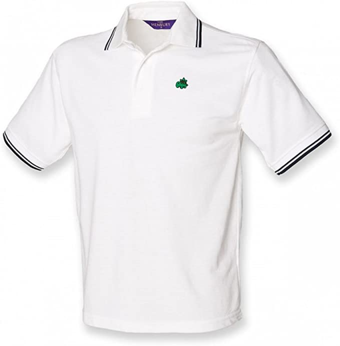 Henbury Kids Little Dinosaur 1 Logo Polo Shirt – White with navy ...