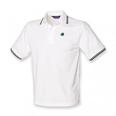 Henbury Kids Little Dinosaur 1 Logo Polo Shirt - White with navy ...