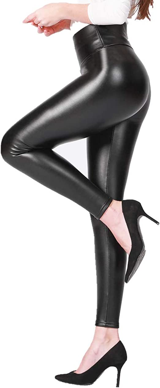 2019 Babyskin Faux Leather Leggings for Women Fleece Lined Leggings High Waist