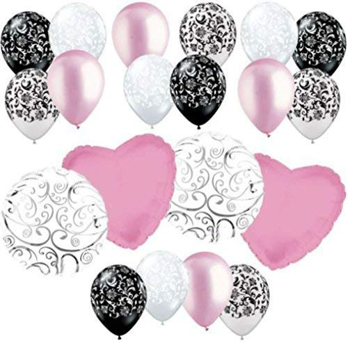 "Custom, Fun & Cool {Big Large 18"" Inch} 20 Pack of Helium & Air Inflatable Mylar/Latex Balloons w/ Elegant Bright Damask Swirl Design [in Pastel Pink, White & Black] -"
