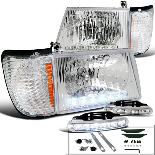 E-Series Econoline Clear Headlights+Signal Corner+LED Driving Fog Lamps (E-150 Corner Econoline Light Ford)