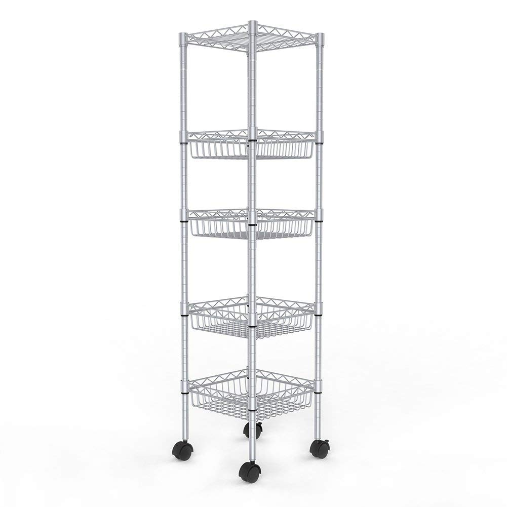 JS HOME Storage Shelves, 5-Tier Wire Shelving Unit with Baskets, 13.4'' D x 13.4'' W x 51.2'' H, Silver