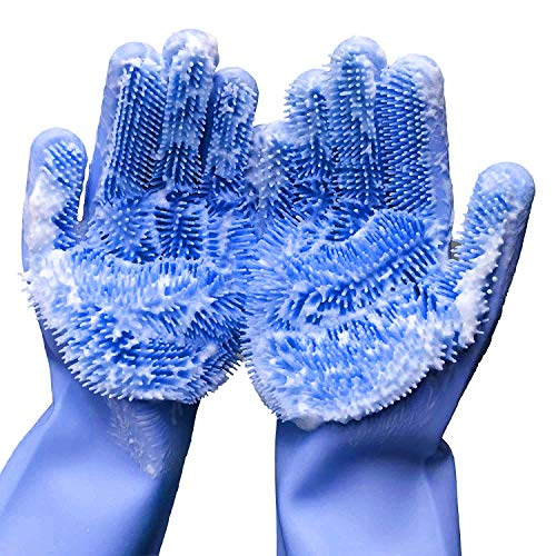 - Magic Silicone Cleaning Gloves,Brush Heat Resistant Gloves for Washing The Car BIUE - 1 Pair