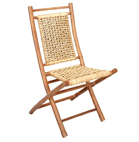 Heather Ann Creations Bamboo Folding Chairs with Open Link Water Hyacinth Weave, Pack of 2, Brown and Natural
