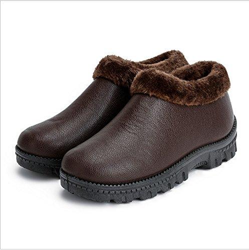 CWAIXXZZ pantofole morbide Luomo spesso soggiorno invernale indoor e outdoor in pelle Indossare scarpe di cotone donna coppia anti-slip impermeabile pacchetto di peluche con cotone pantofole ,37, la