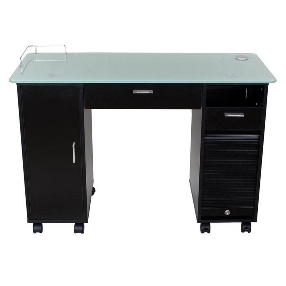 Icarus superb black manicure nail table station for Unique manicure tables