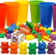 Skoolzy Rainbow Counting Bears with Matching Sorting Cups, Bear Counters and Dice Math Toddler Games 71pc Set