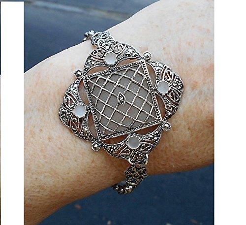 Large Camphor Glass Marcasite Bracelet Sterling Open Filigree with 48 Sparkiling Marcasites Art Deco Exquisite Sterling Link Bracelet (Marcasite Filigree Bracelet)