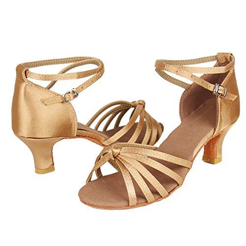 Ballsaal Latin Satin 217 D7 Tanzschuhe Modell HROYL Schuhe 5cm Dance Beige Damen gZWqA