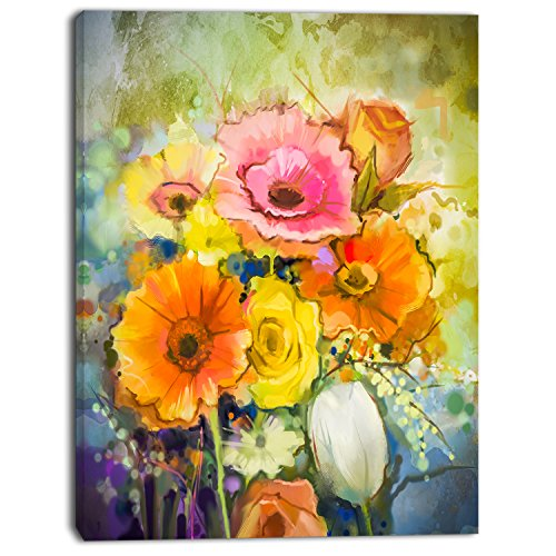 Design Art White Gerbera Red Rose and Tulips Floral on Canvas
