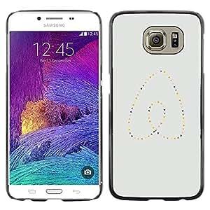 Be Good Phone Accessory // Dura Cáscara cubierta Protectora Caso Carcasa Funda de Protección para Samsung Galaxy S6 SM-G920 // Heart Pearls Gold Blue Minimalist