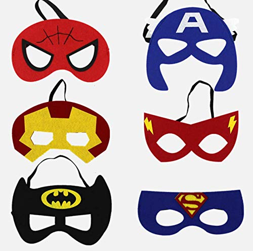 AG Goodies Superheroes Party Masks Party Favors for Kid (32 Packs) Felt and Elastic - Superheroes Birthday Party Masks with 32 Different Types Perfect for Children Aged 3+