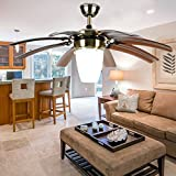LuxureFan Modern Simple Ceiling Fan Light for Living Room Bedroom with 8 Retractable ABS Leaves and Remote Control Take Off Chandeliers of 42Inch (Brown)