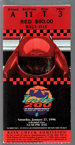 Walt Disney World Spdwy Indy Car Race Ticket Stub 1/27/1996-IRL-Inaugural-FN