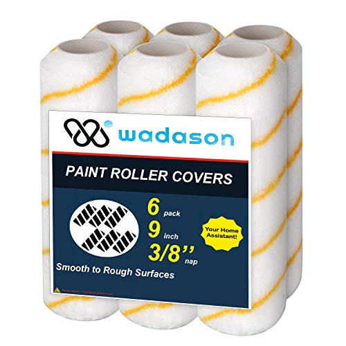 Wadason Paint Roller Covers 9 inch 3/8 inch Nap Smooth Home Painting Supplies 6 Pack