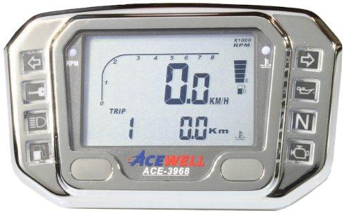 Acewell ACE-3968AC Digitaler Motorrad & Quad / ATV Tachometer mit Drehzahlmesser, LED Kontrollleuchten & Ganganzeige aus hochwertigem Aluminium verchromt