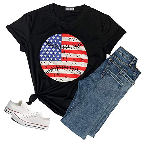 Hellopopgo Women's Merica USA Flag Baseball Printed Sport T-Shirt O-Neck Mom Causal Tee Tops Blouse Gift (Large, Black) ()
