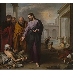 The High Quality Polyster Canvas Of Oil Painting 'Bartolom Esteban Murillo Christ Healing The Paralytic At The Pool Of Bethesda ' ,size: 24 X 26 Inch / 61 X 67 Cm ,this Cheap But High Quality Art Decorative Art Decorative Canvas Prints Is Fit For Dining