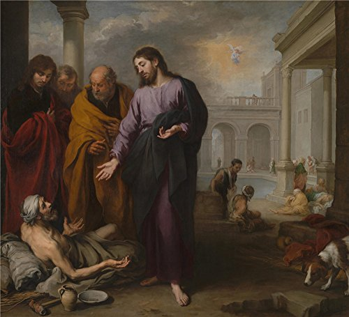 Oil Painting 'Bartolom Esteban Murillo Christ Healing The Paralytic At The Pool Of Bethesda ' Printing On Perfect Effect Canvas , 20 X 22 Inch / 51 X 56 Cm ,the Best Kitchen Artwork And Home Decoration And Gifts Is This Reproductions Art Decorative Canvas Prints (The Man At The Pool Of Bethesda)