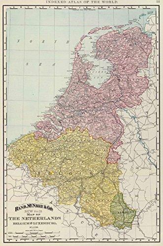 World Atlas | 1897 Benelux Countries. | Historic Antique Vintage Map Reprint