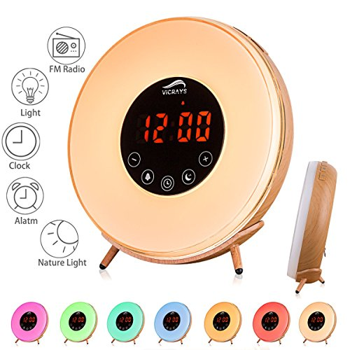 Sunrise Simulation Radio Alarm Clock - Vicrays Digital Alarm Clock with FM Radio, Wake Up with Light 7 Colors Night Light for Bedrooms, 6 Natural Sounds, Smart Snooze Function for Heavy Sleepers Set Wood Clock