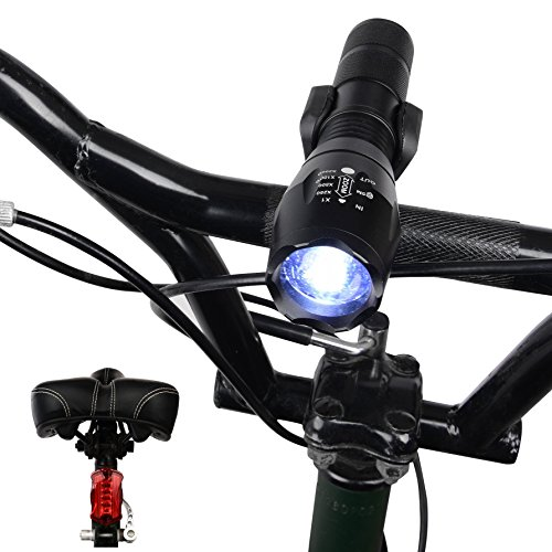 Bicycle Light Front & Tail Set Kit by AbysCollection-Rechargeable Waterproof 5 LED 800 Lumen Flashlight & Bike Rear Light-Best Super Bright-Strong Cycle Mount Holder with Accessories-Be Seen Stay Safe (Bullet Bicycle Light)