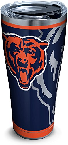 (Tervis 1299905 NFL Chicago Bears Rush Stainless Steel Tumbler with Lid, 30 oz, Silver)