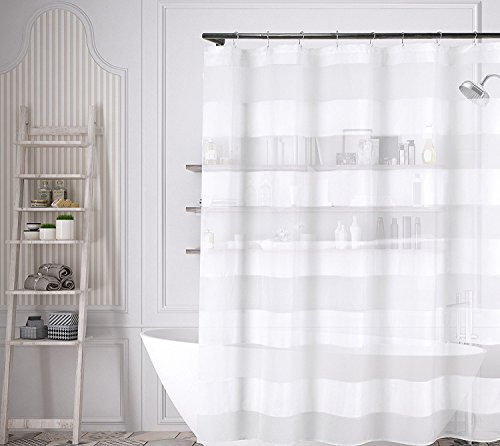 White Fabric Shower Curtain Wide Stripe Design 70 X 72 Outlet